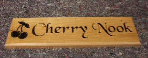 Cherry Wood House Sign   The Sign Maker Shop